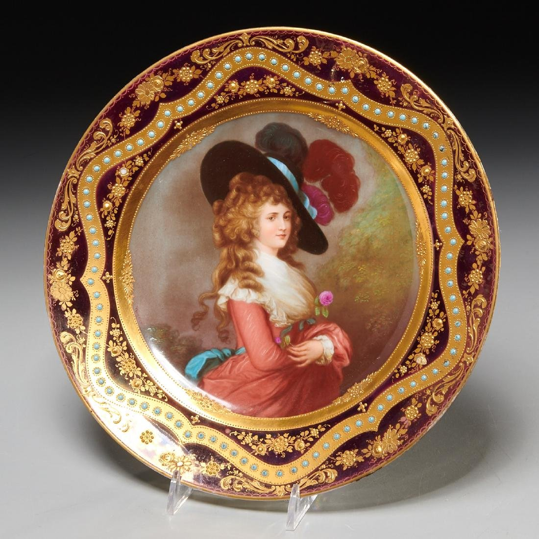Royal Vienna style jeweled cabinet plate