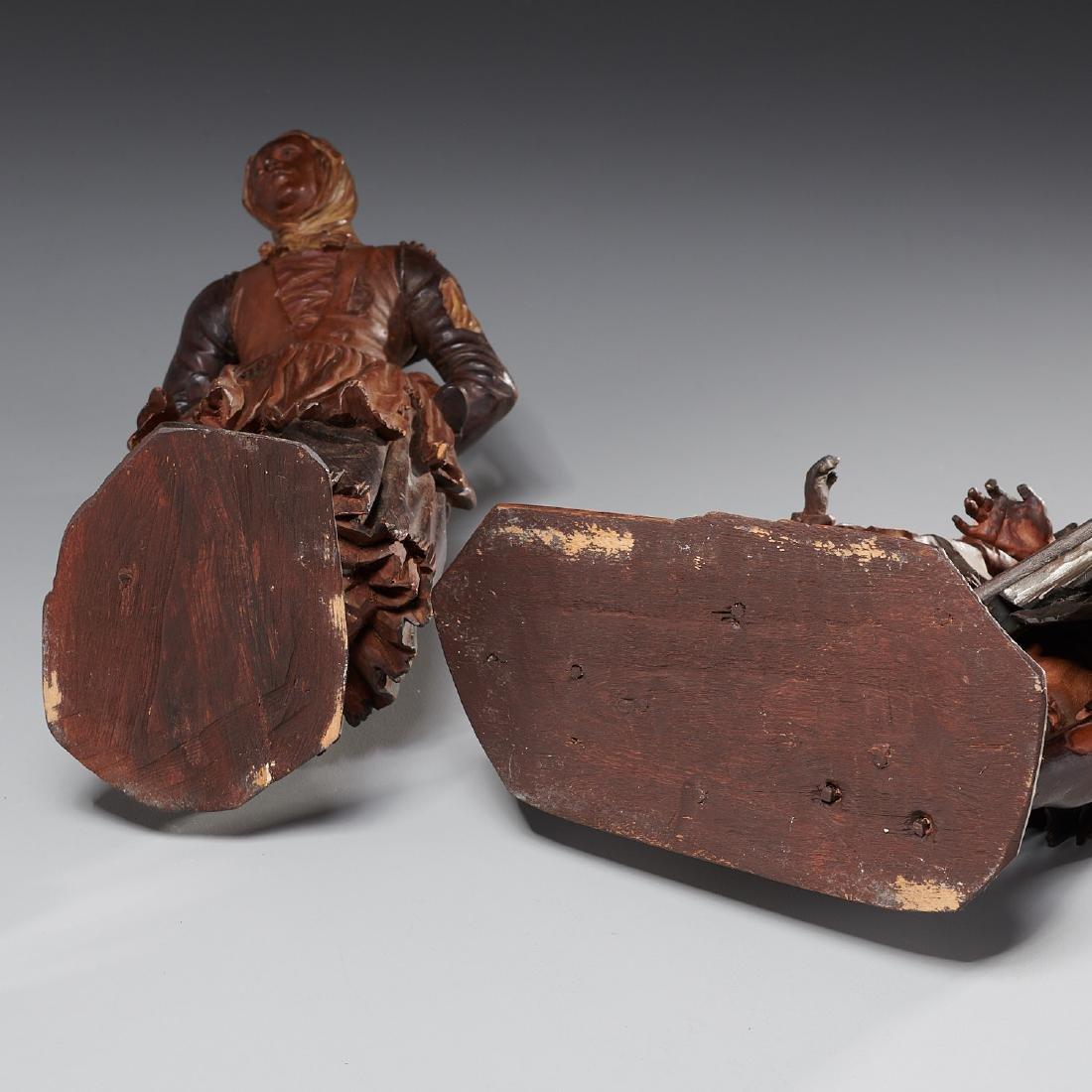Pair Tyrolean carved wood figures - 10