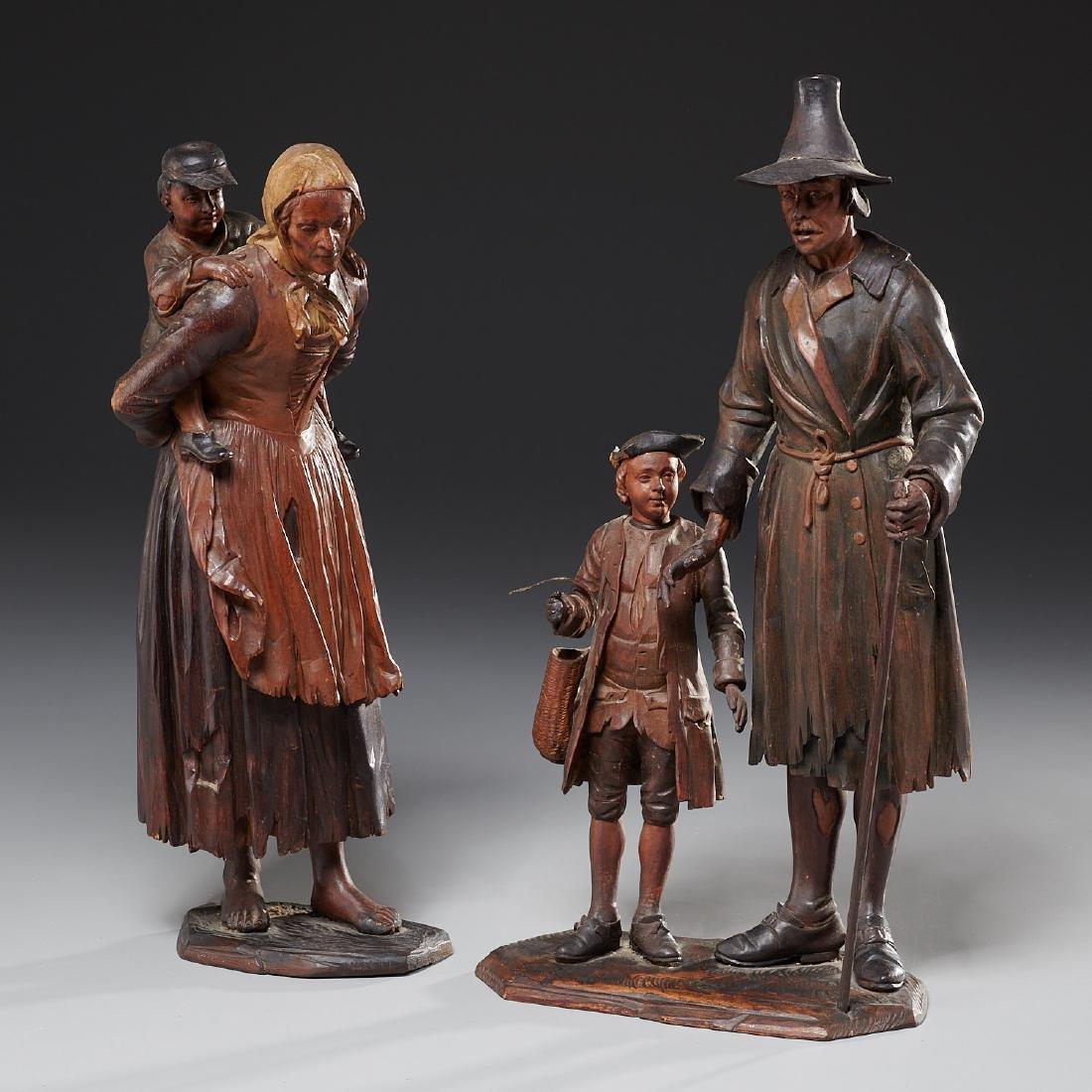 Pair Tyrolean carved wood figures