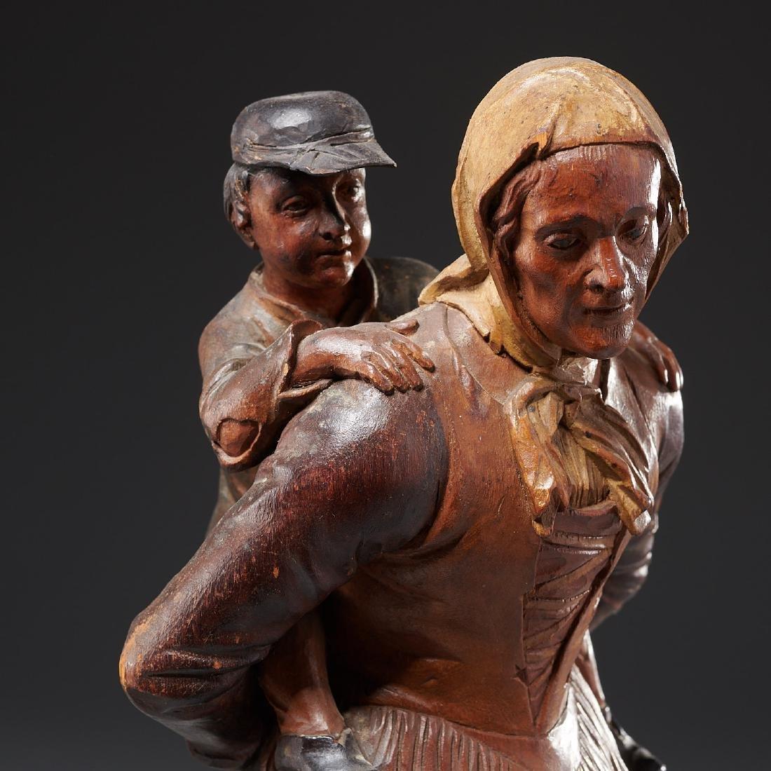 Pair Tyrolean carved wood figures - 3