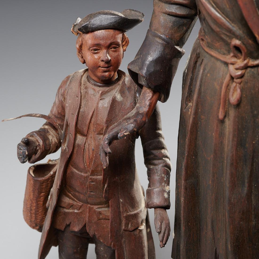 Pair Tyrolean carved wood figures - 4