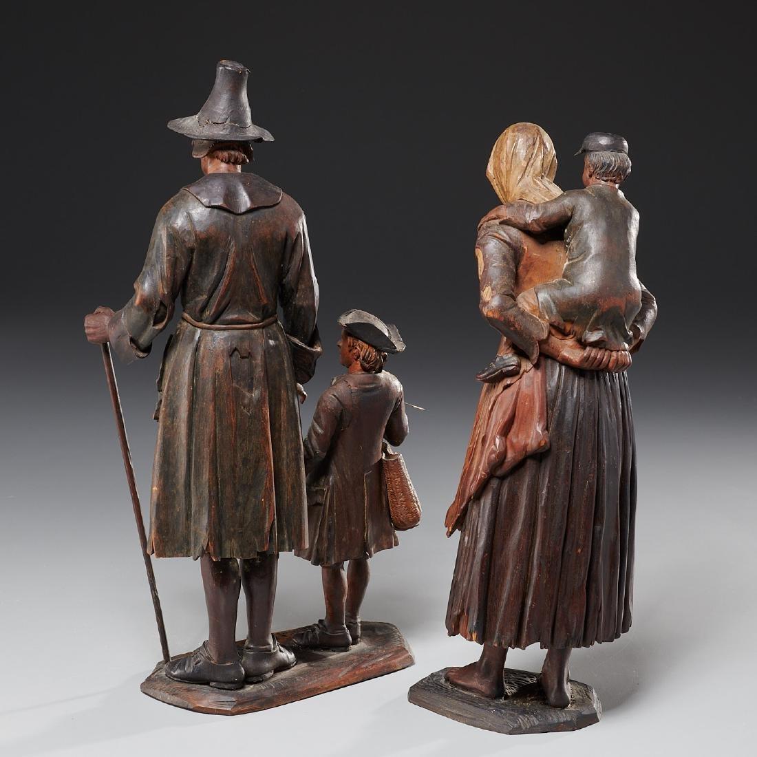 Pair Tyrolean carved wood figures - 5