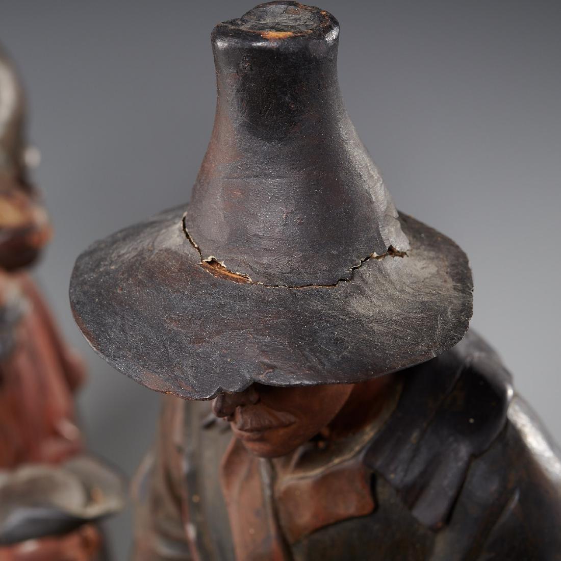 Pair Tyrolean carved wood figures - 9