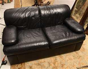 Maurice Villency Black Leather Sofa
