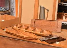 Group Mid-Century wood and pewter tablewares