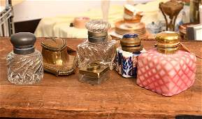 Collection (6) antique and vintage inkwells
