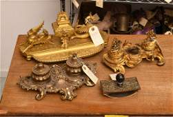 (3) gilt bronze and brass desk accessories