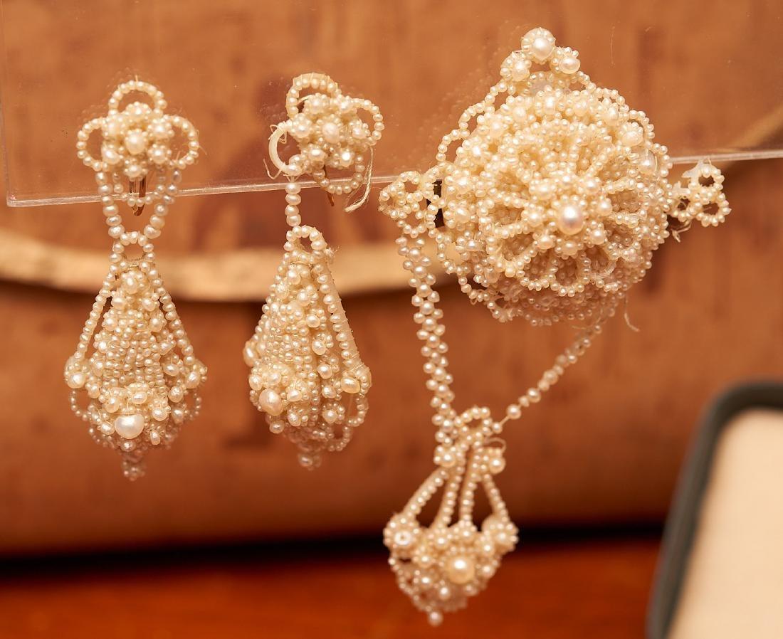 Victorian seed pearl mini parure