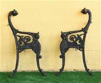 2 Victorian cast iron bench supports