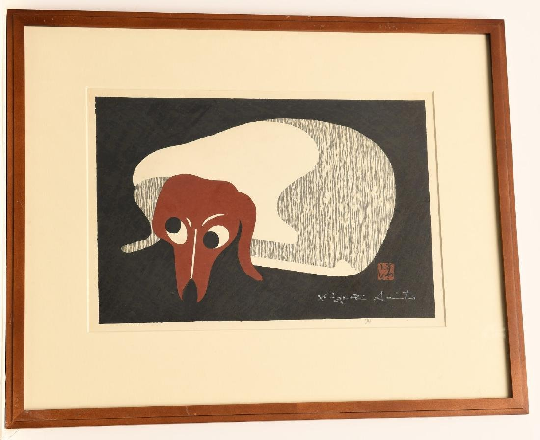 Kiyoshi Saito, Dachshund woodblock print
