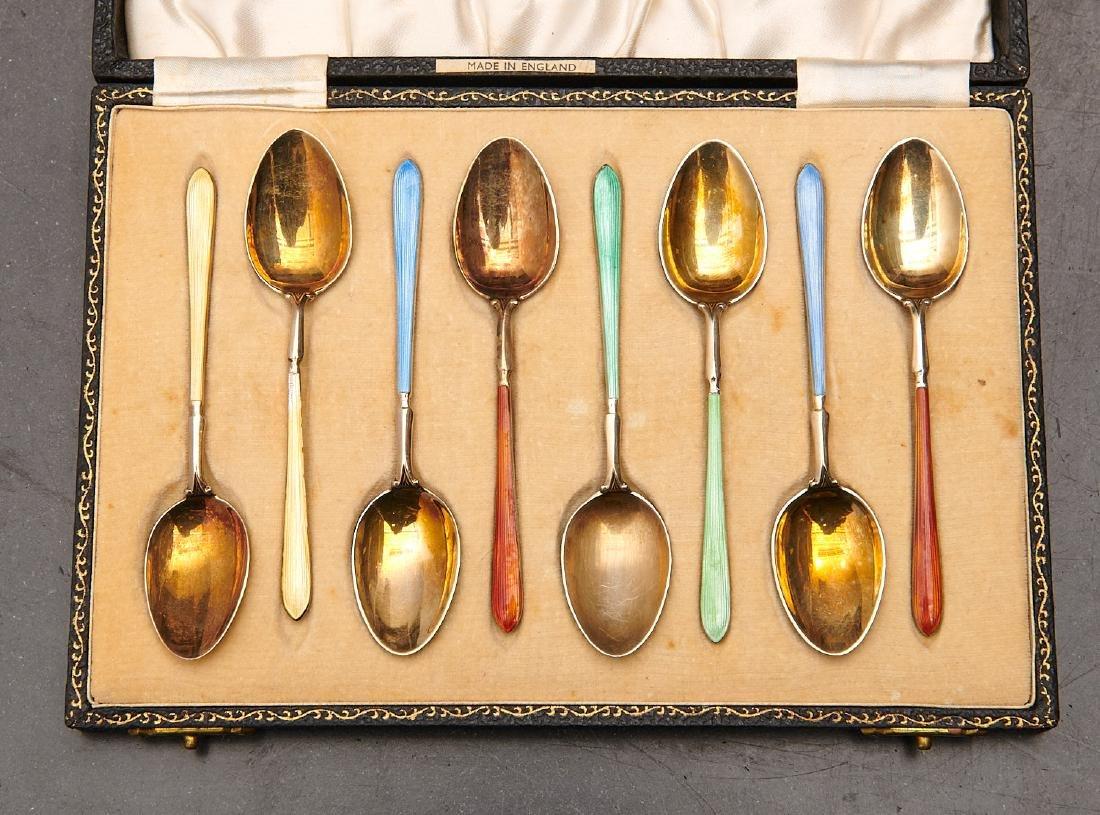 Set (8) English enameled sterling demitasse spoons - 2