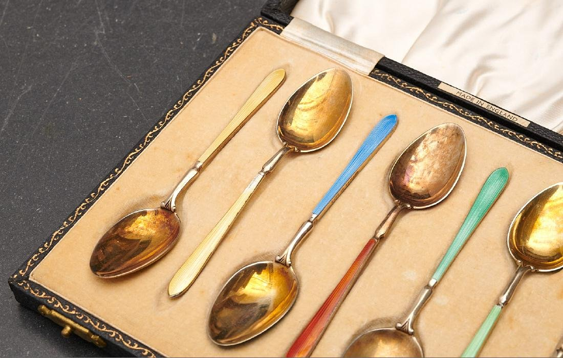 Set (8) English enameled sterling demitasse spoons - 3