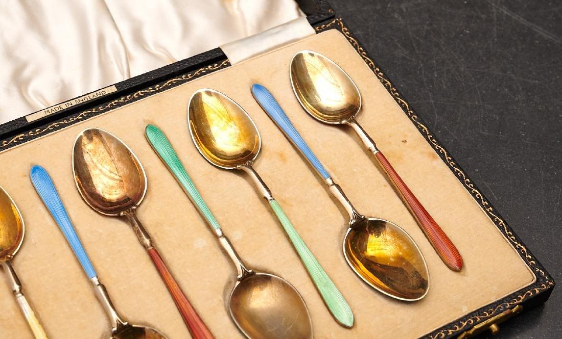 Set (8) English enameled sterling demitasse spoons - 4