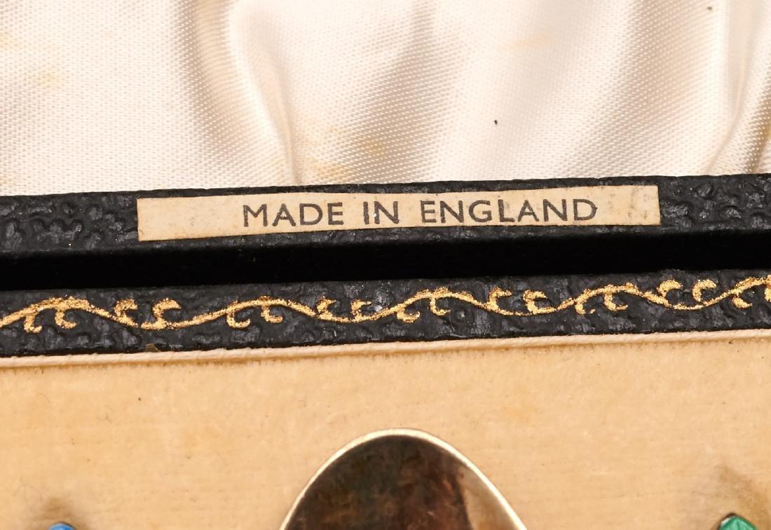 Set (8) English enameled sterling demitasse spoons - 6