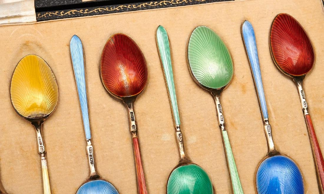 Set (8) English enameled sterling demitasse spoons - 8
