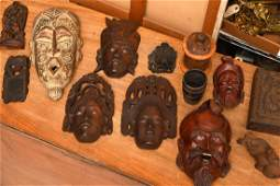 Collection 13 carved wood masks and objects