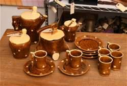 (16) piece French faux bois majolica tea set