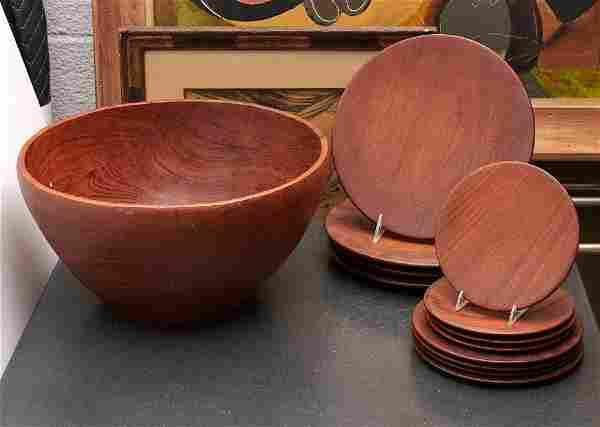 Danish Modern teakwood tableware group