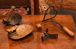 Group (5) primitive Folk Art wood and iron tools