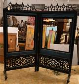 Victorian carved and ebonized screen