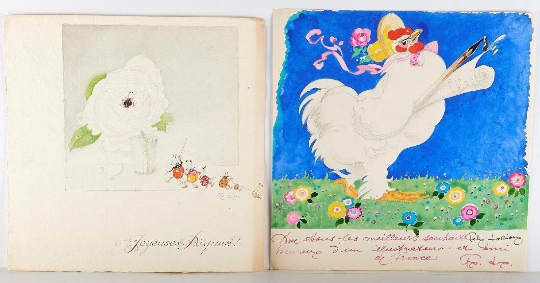 (2) Felix Lorioux orig. watercolor illustrations