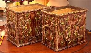 Large pair Majolica faux bois jardinieres