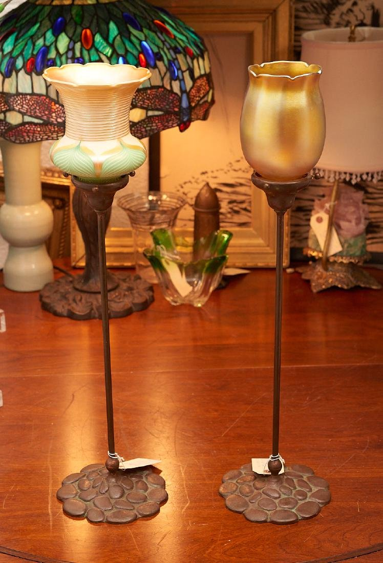 (2) Tiffany Studios style candlestick lamps