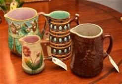 Group (4) majolica pitchers and jugs