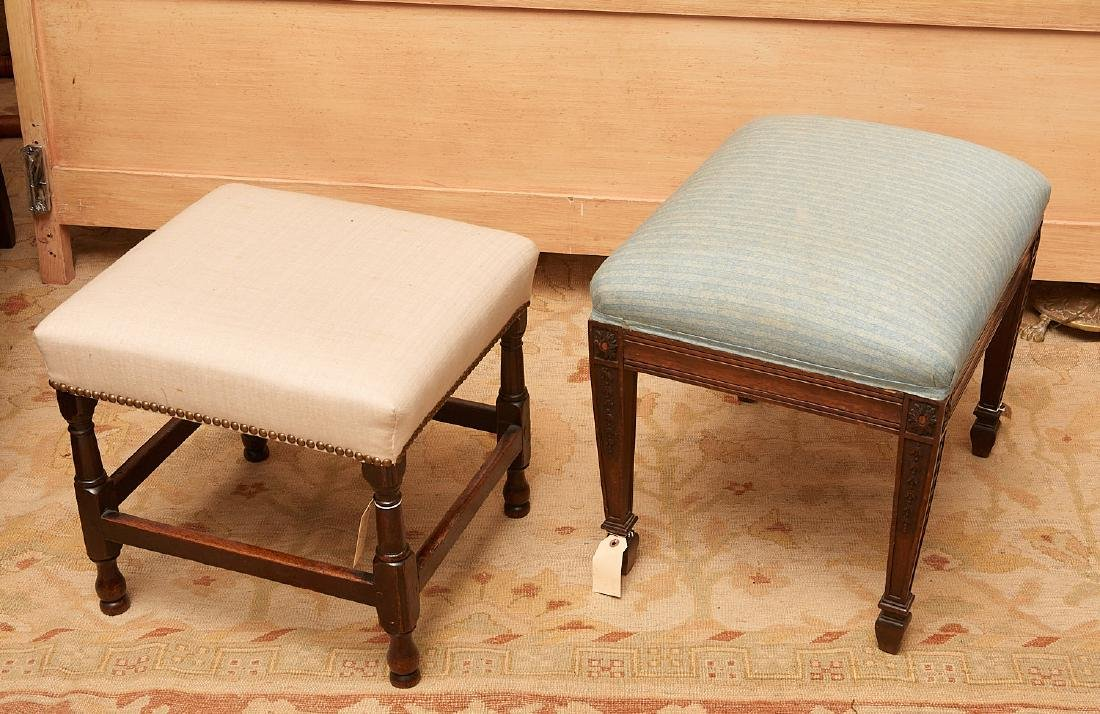 (2) antique English upholstered footstools