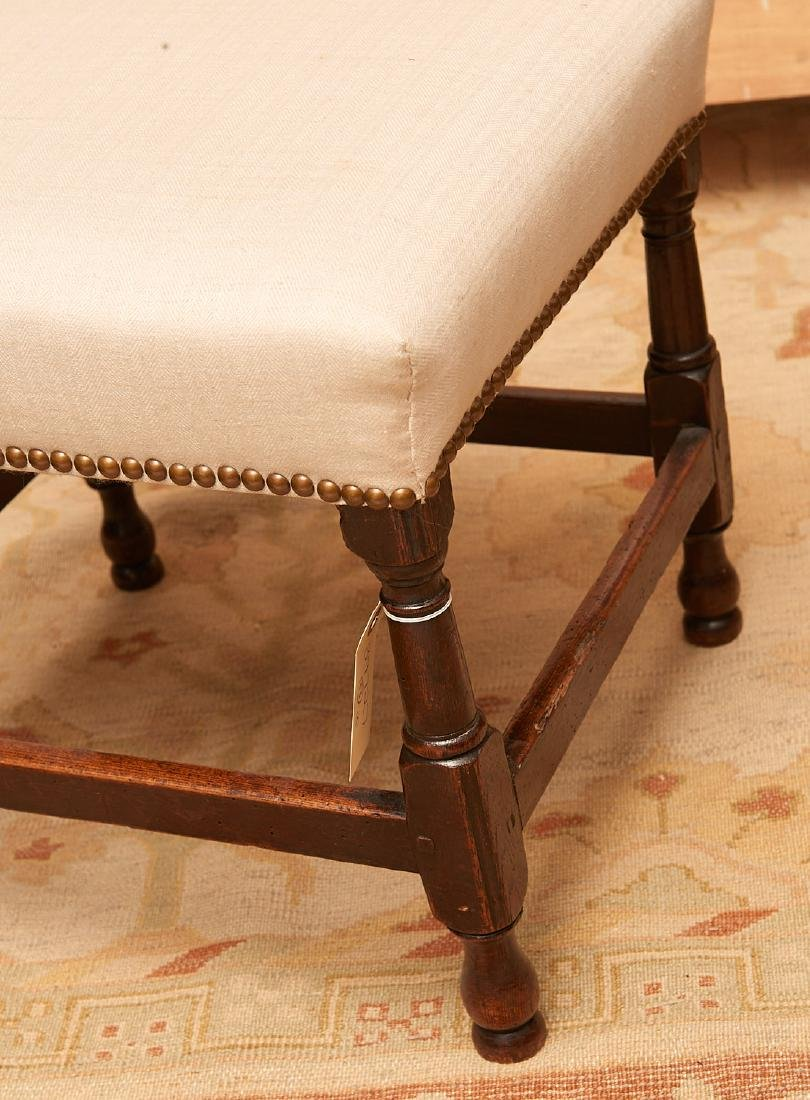 (2) antique English upholstered footstools - 2