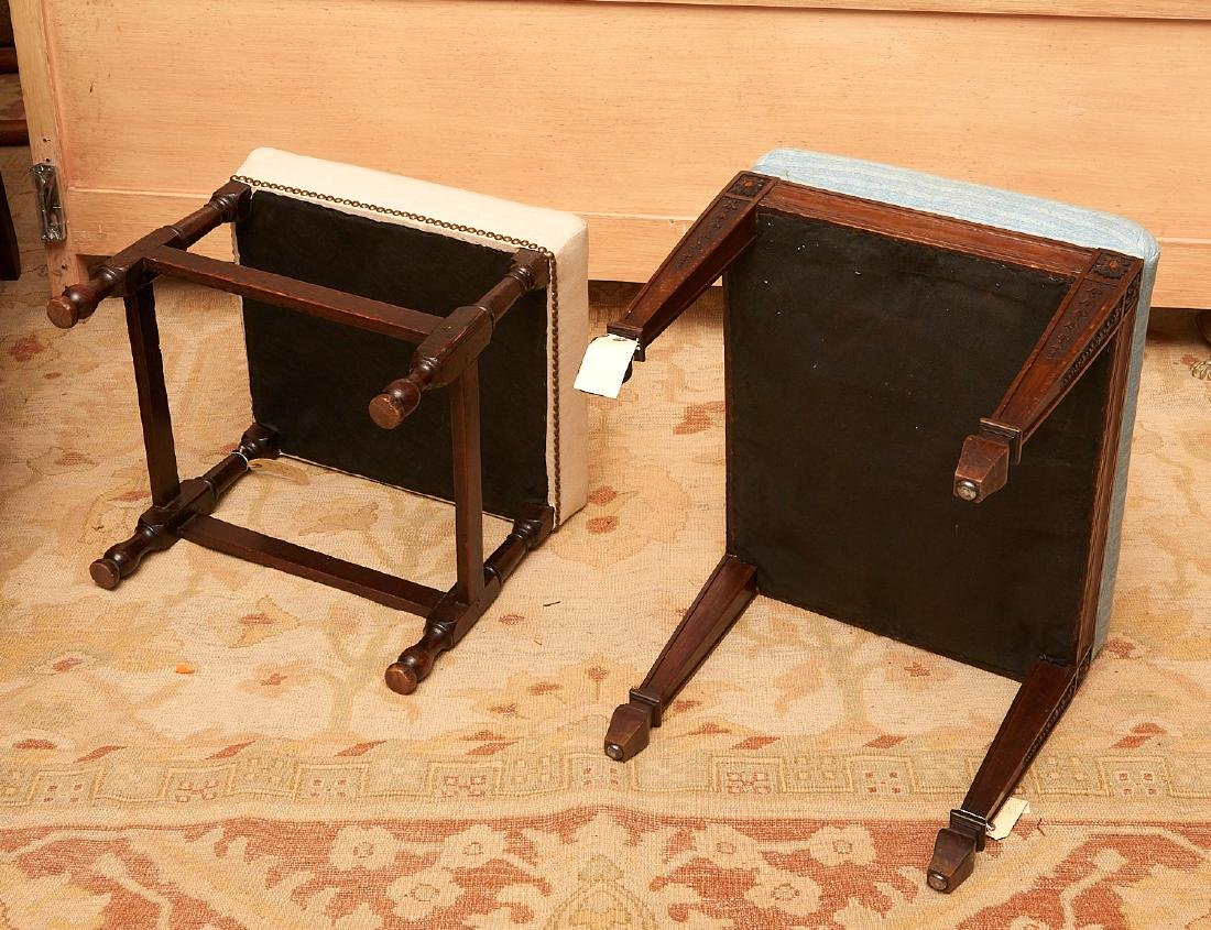 (2) antique English upholstered footstools - 6