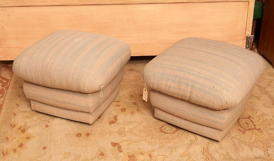 Pair designer stacked cushion stools