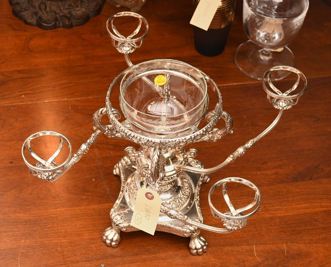 English silver plated and etched glass epergne