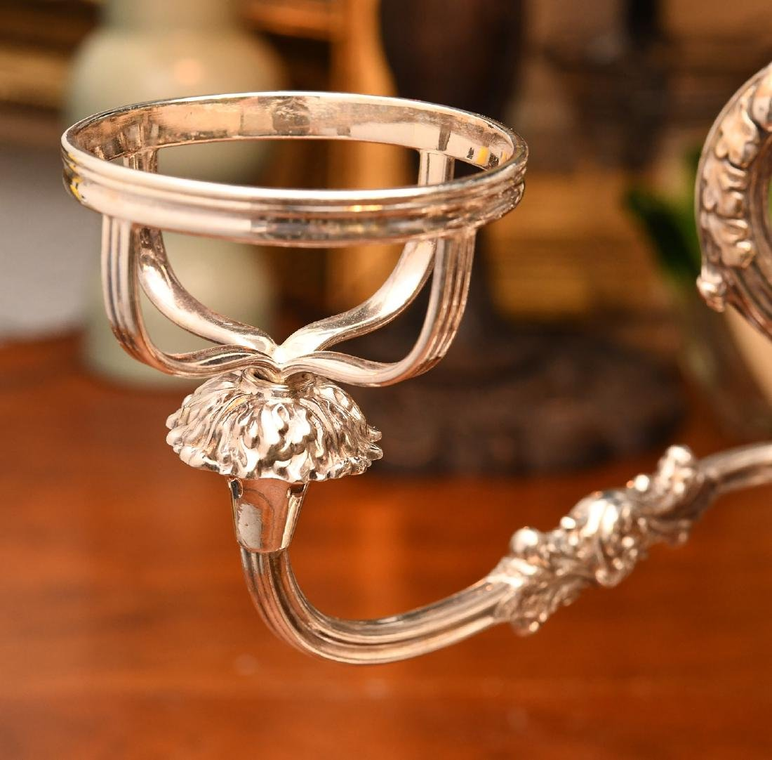 English silver plated and etched glass epergne - 3