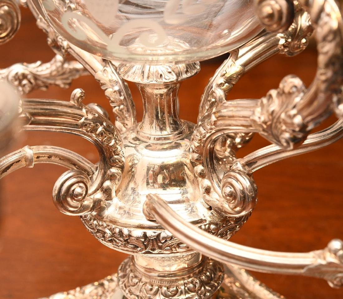 English silver plated and etched glass epergne - 5