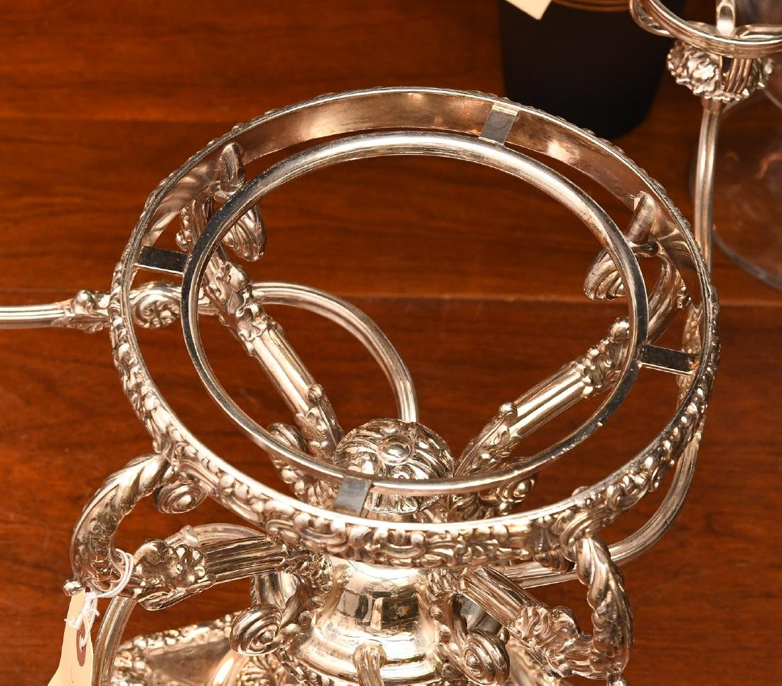 English silver plated and etched glass epergne - 6