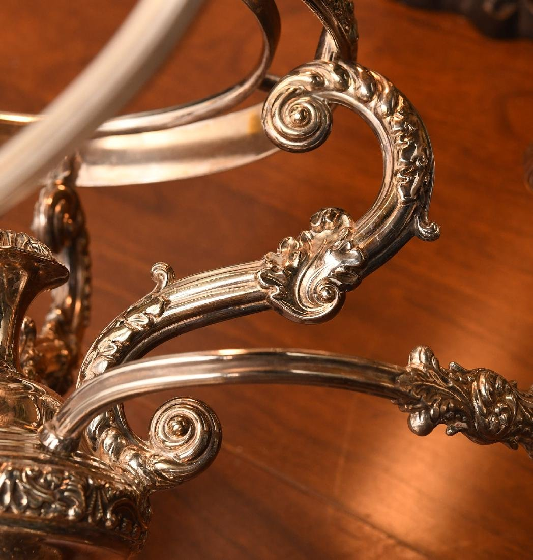 English silver plated and etched glass epergne - 8