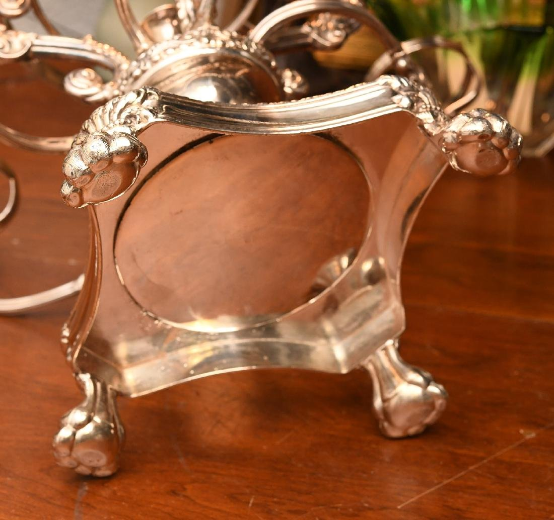 English silver plated and etched glass epergne - 9