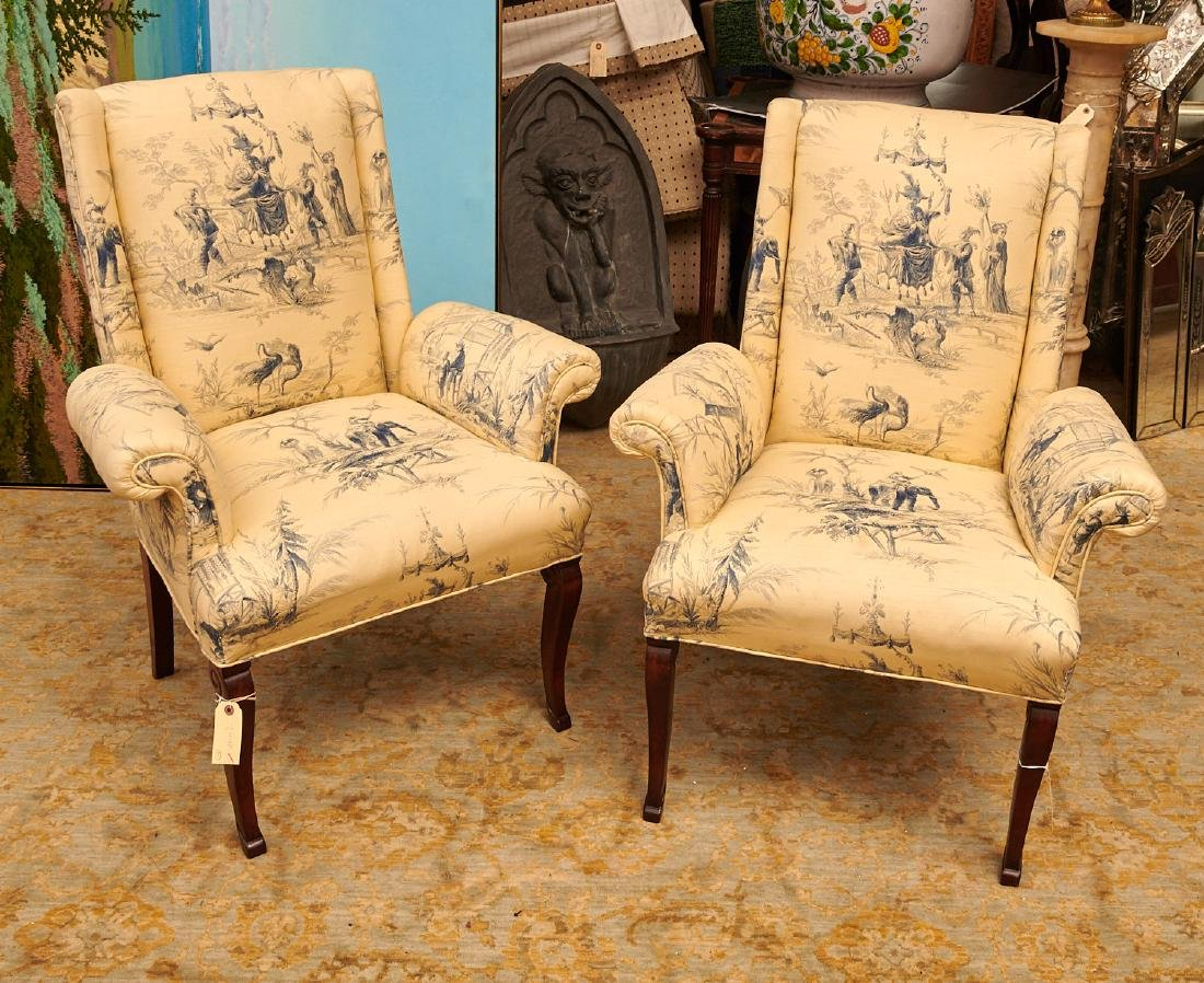 Pair Chinoiserie toile upholstered armchairs
