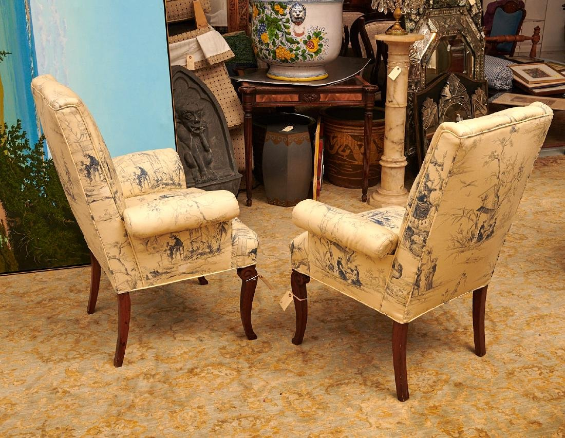 Pair Chinoiserie toile upholstered armchairs - 4