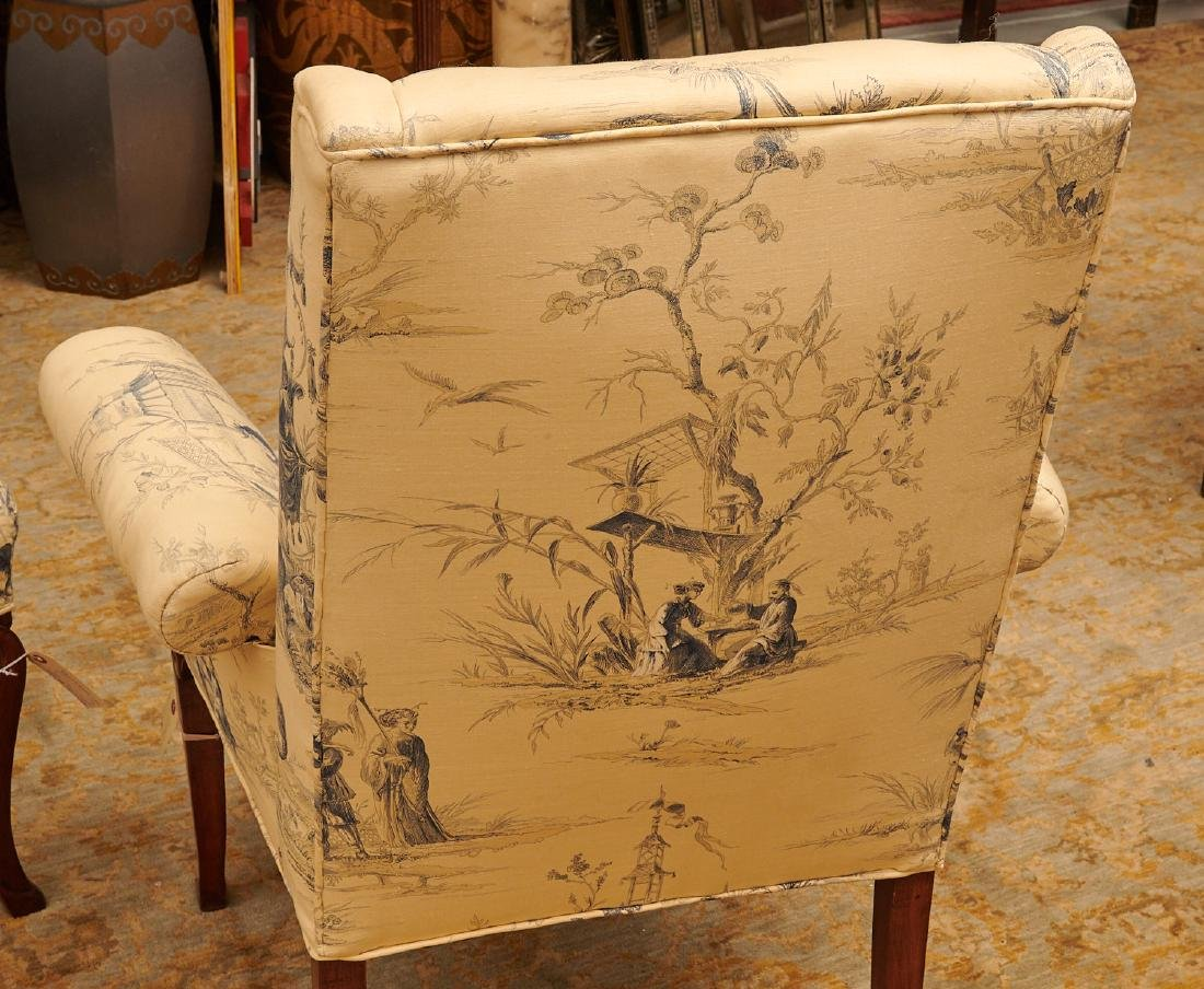 Pair Chinoiserie toile upholstered armchairs - 5