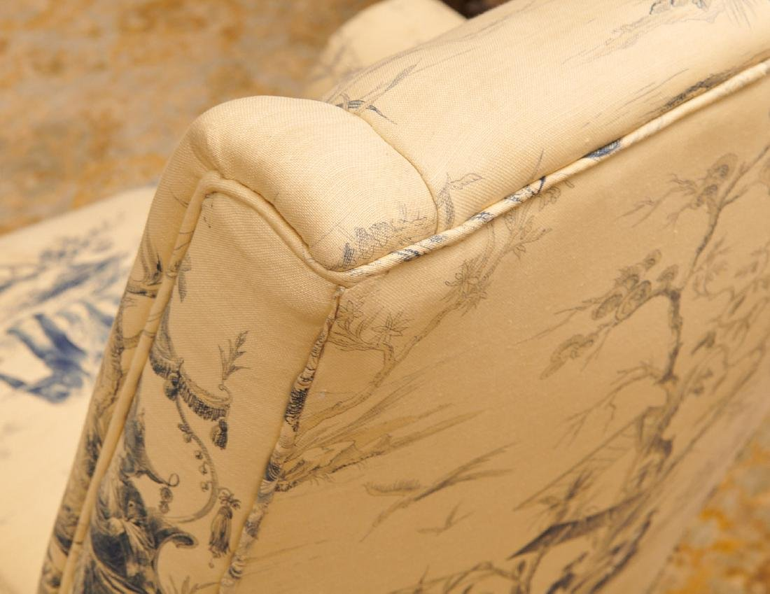 Pair Chinoiserie toile upholstered armchairs - 6
