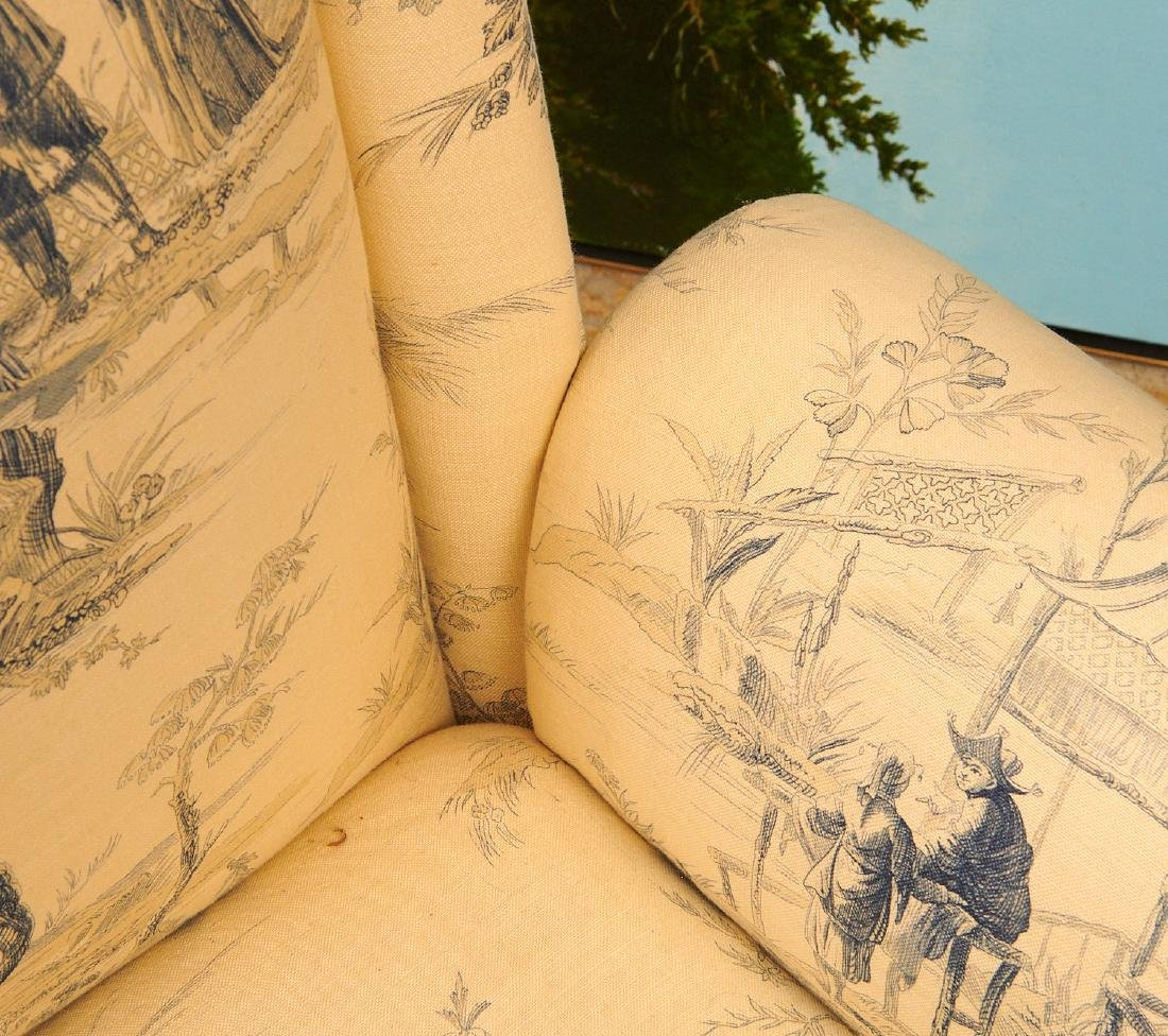 Pair Chinoiserie toile upholstered armchairs - 7