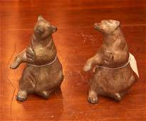 Pair patinated bronze bear bookends