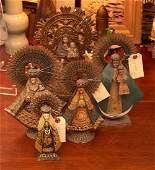 (5) vintage signed Santo figures