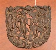 Large Continental bronze mythological escutcheon