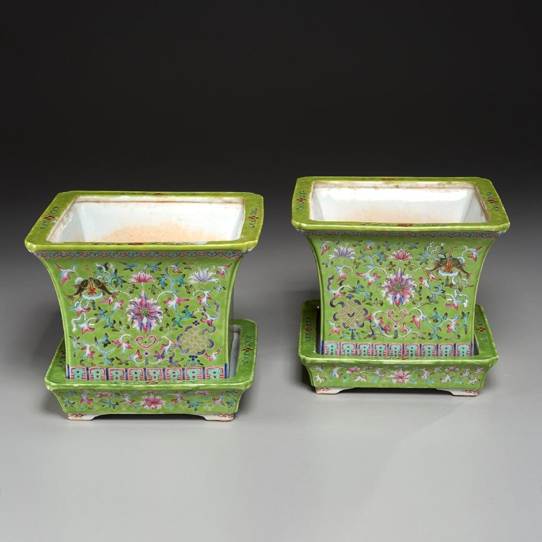 Pair Chinese famille verte jardiniere with trays