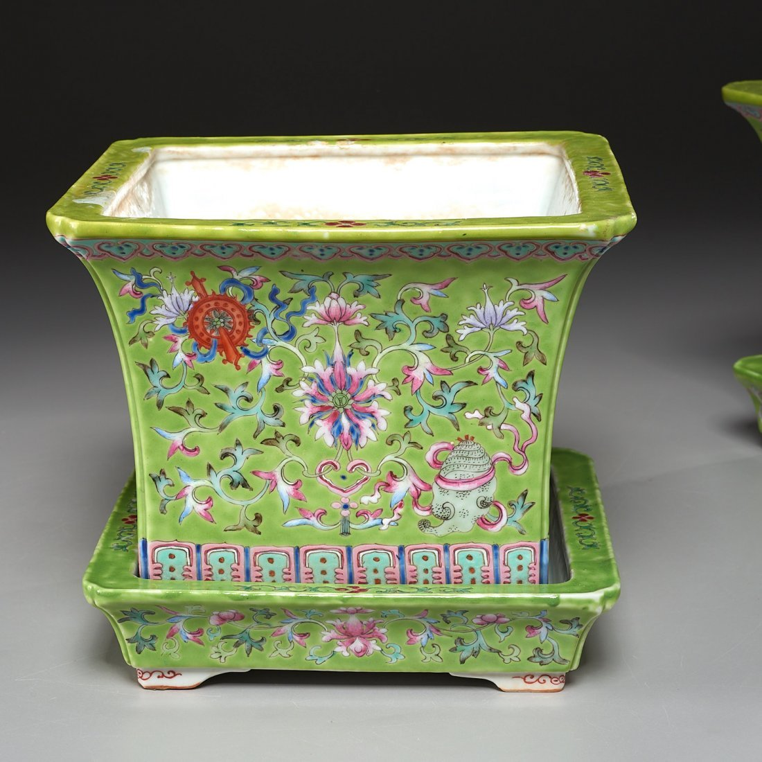 Pair Chinese famille verte jardiniere with trays - 5