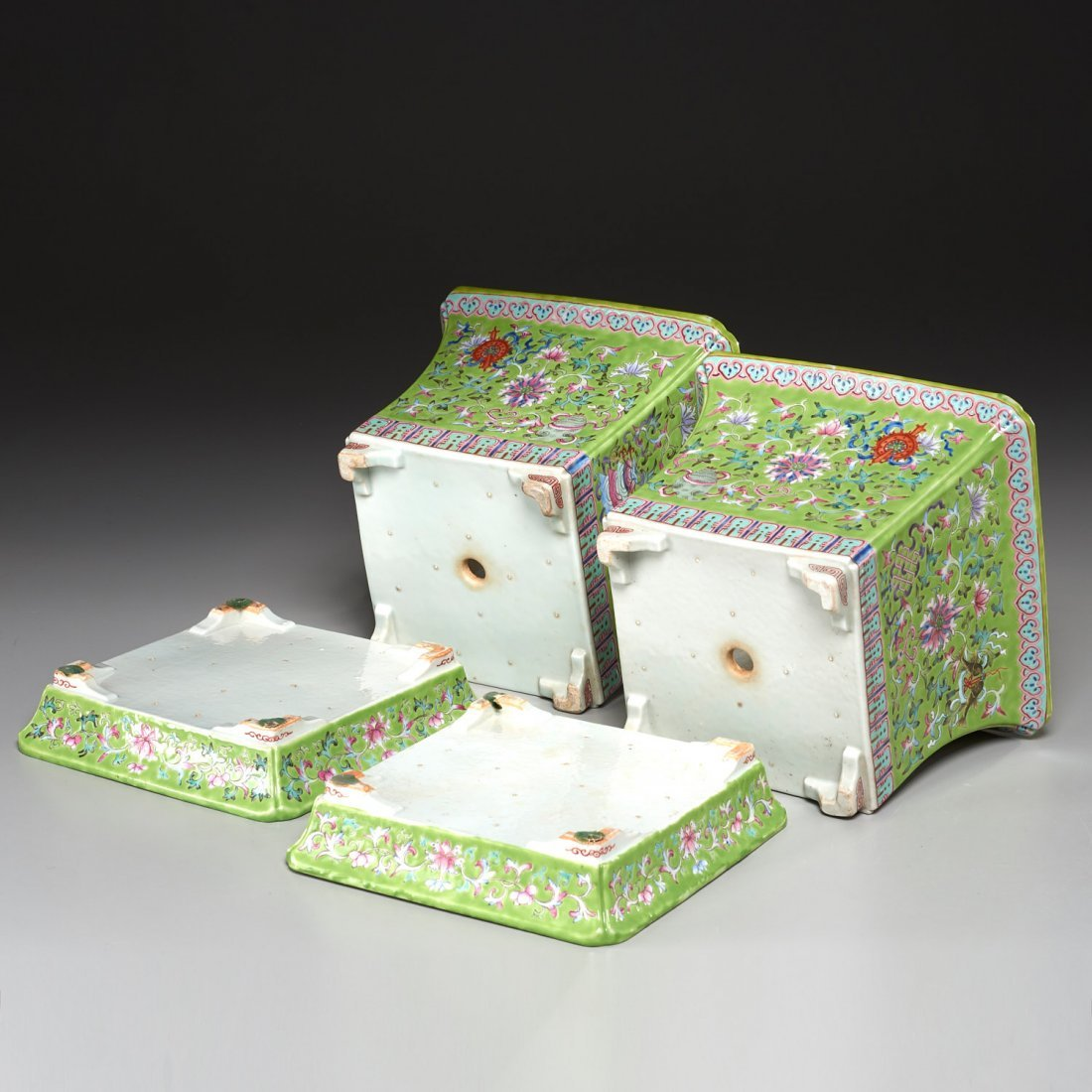 Pair Chinese famille verte jardiniere with trays - 8