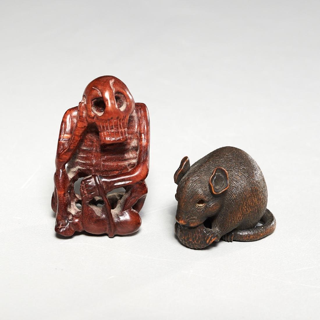 (2) carved wood netsuke